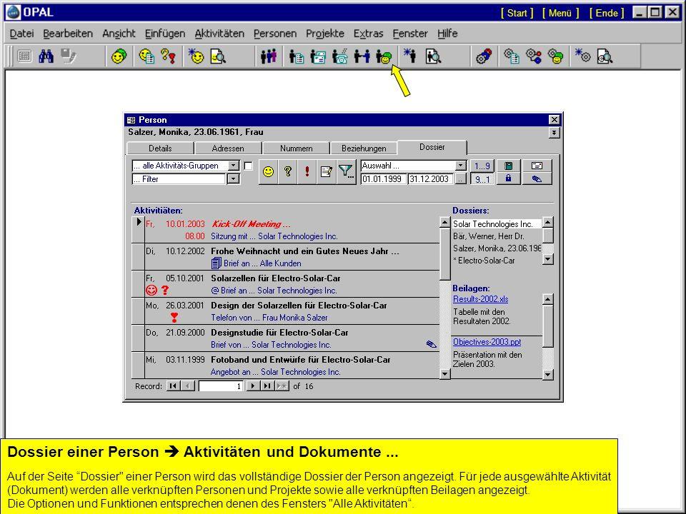 Dossier einer Person  Aktivitäten und Dokumente ...