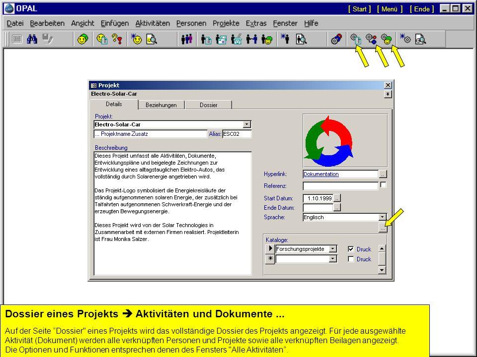 Dossier eines Projekts  Aktivitäten und Dokumente ...