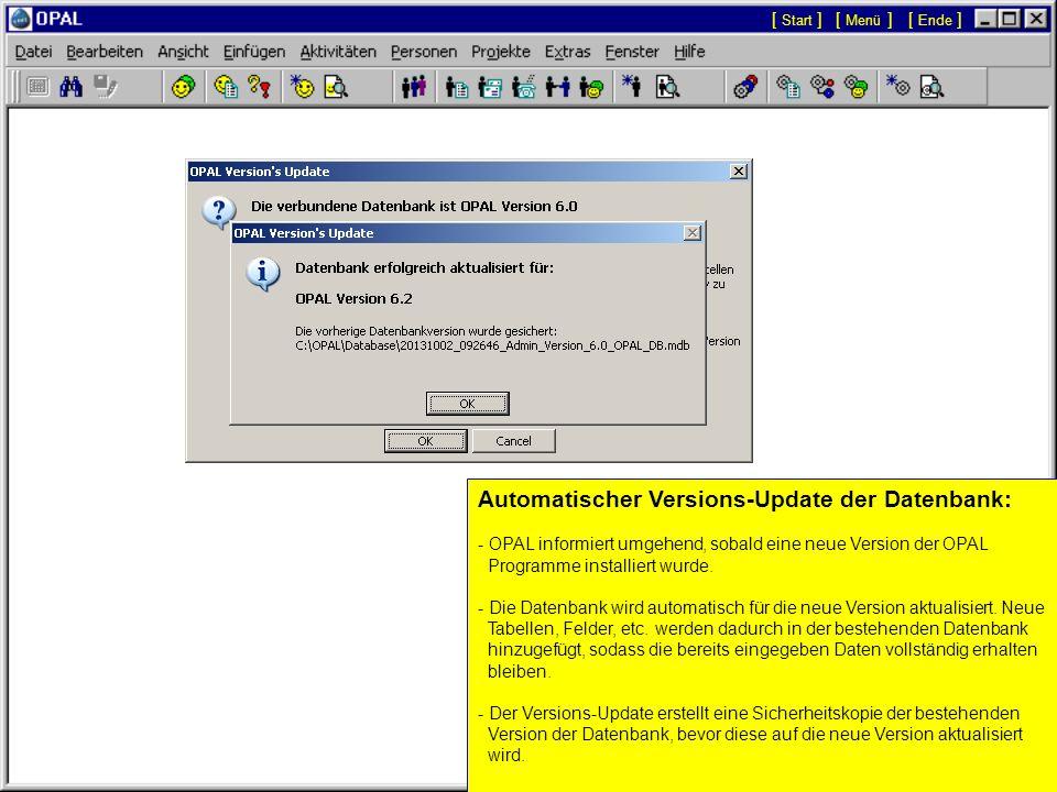 Automatischer Versions-Update der Datenbank: