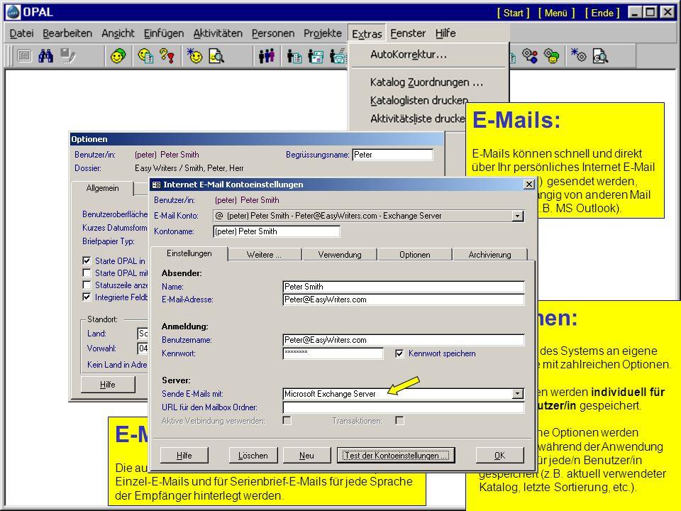 E-Mail Unterschriften: Optionen: