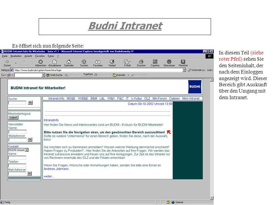 Budni Intranet Es öffnet sich nun folgende Seite: