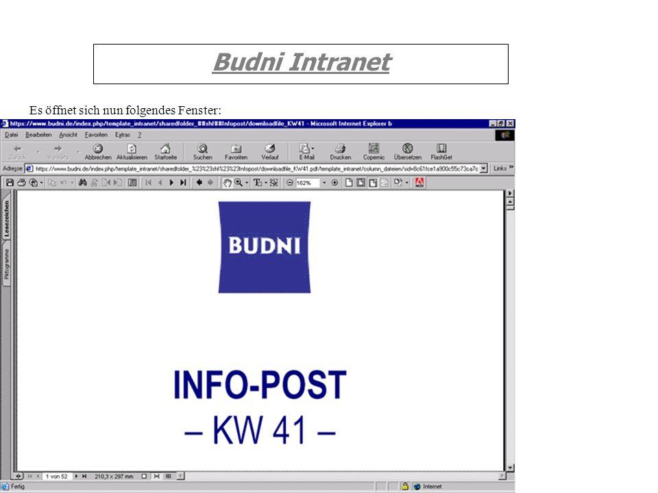 Budni Intranet Es öffnet sich nun folgendes Fenster: ë