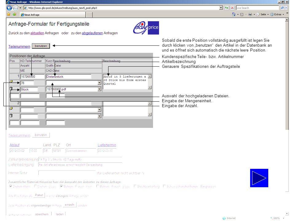 """Sobald die erste Position vollständig ausgefüllt ist legen Sie durch klicken von """"benutzen den Artikel in der Datenbank an"""