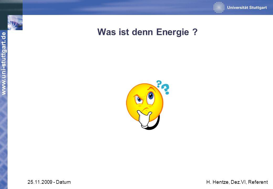 Was ist denn Energie 25.11.2009 - Datum H. Hentze, Dez.VI, Referent