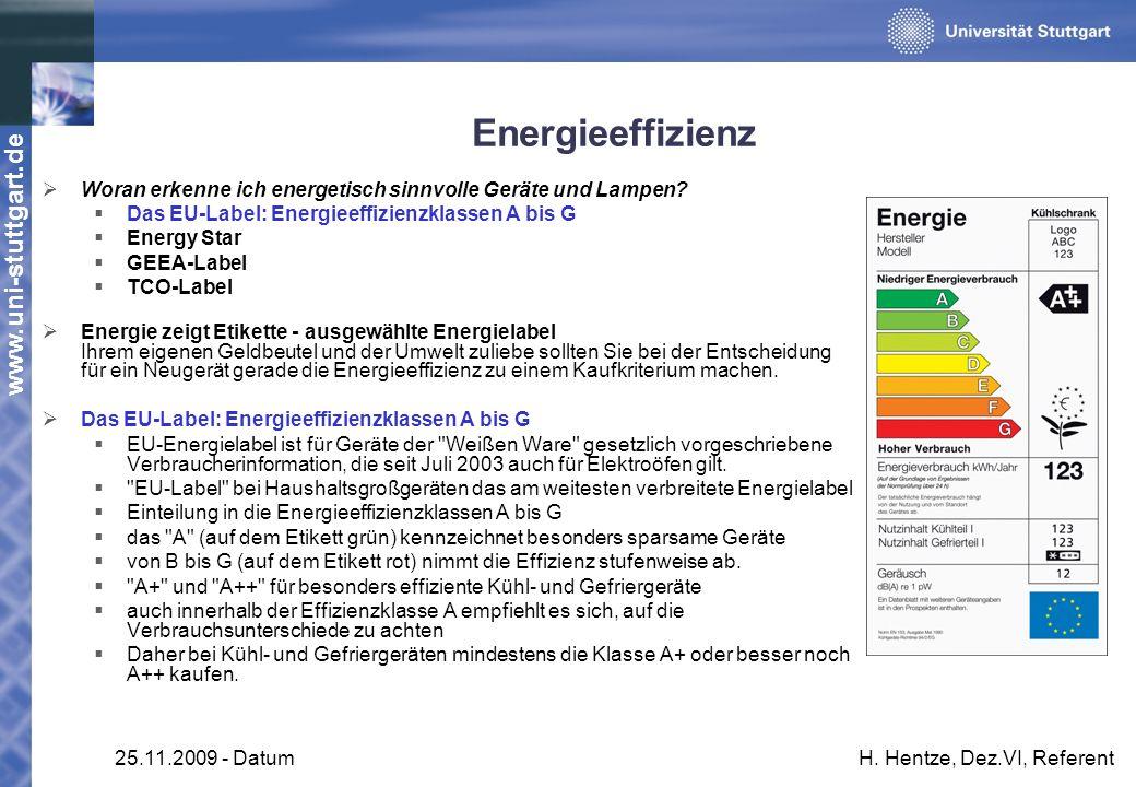 Energieeffizienz Woran erkenne ich energetisch sinnvolle Geräte und Lampen Das EU-Label: Energieeffizienzklassen A bis G.
