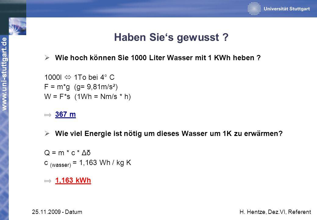 Haben Sie's gewusst Wie hoch können Sie 1000 Liter Wasser mit 1 KWh heben 1000l  1To bei 4° C.