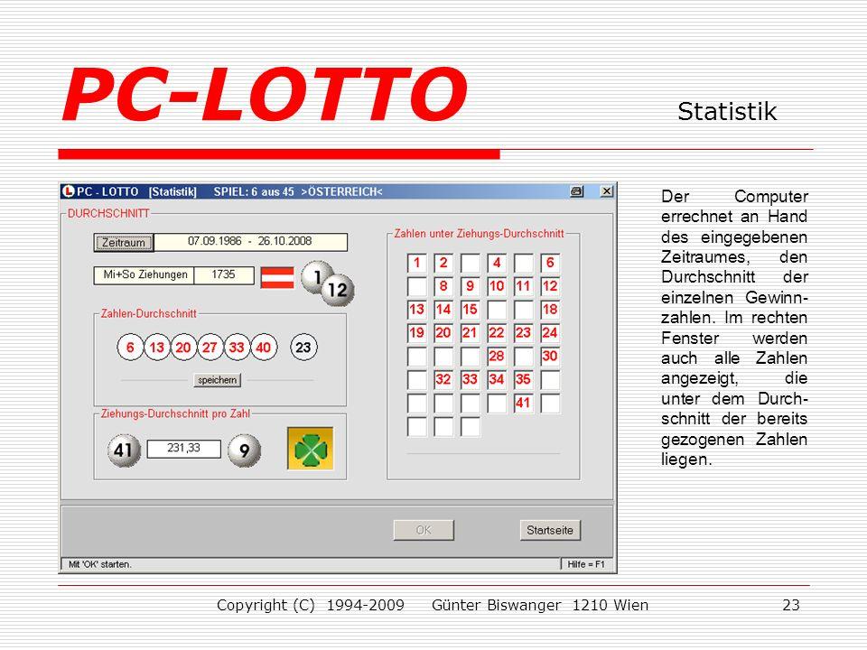 Copyright (C) 1994-2009 Günter Biswanger 1210 Wien