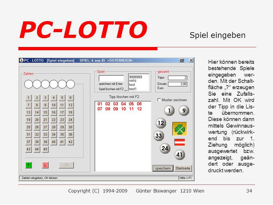 PC-LOTTO Spiel eingeben