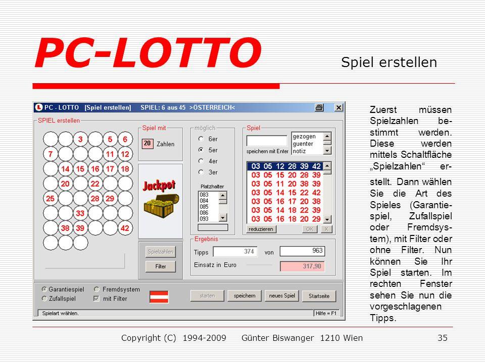 PC-LOTTO Spiel erstellen