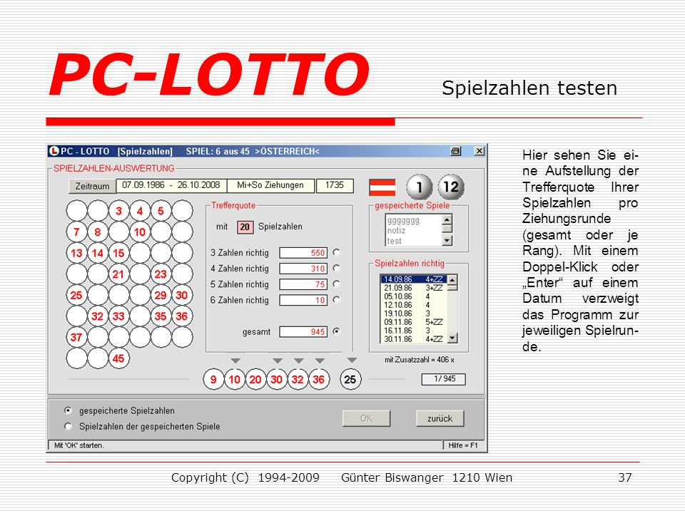 PC-LOTTO Spielzahlen testen