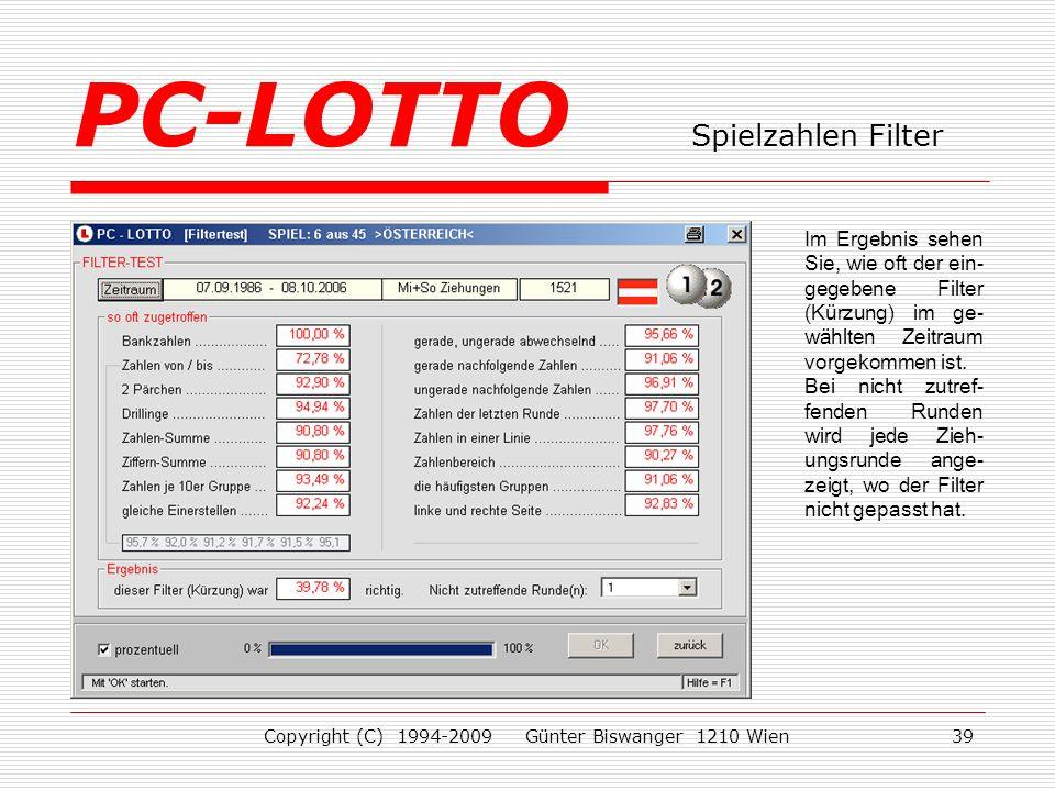PC-LOTTO Spielzahlen Filter
