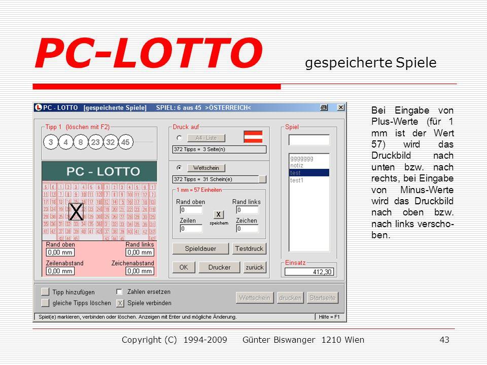 PC-LOTTO gespeicherte Spiele