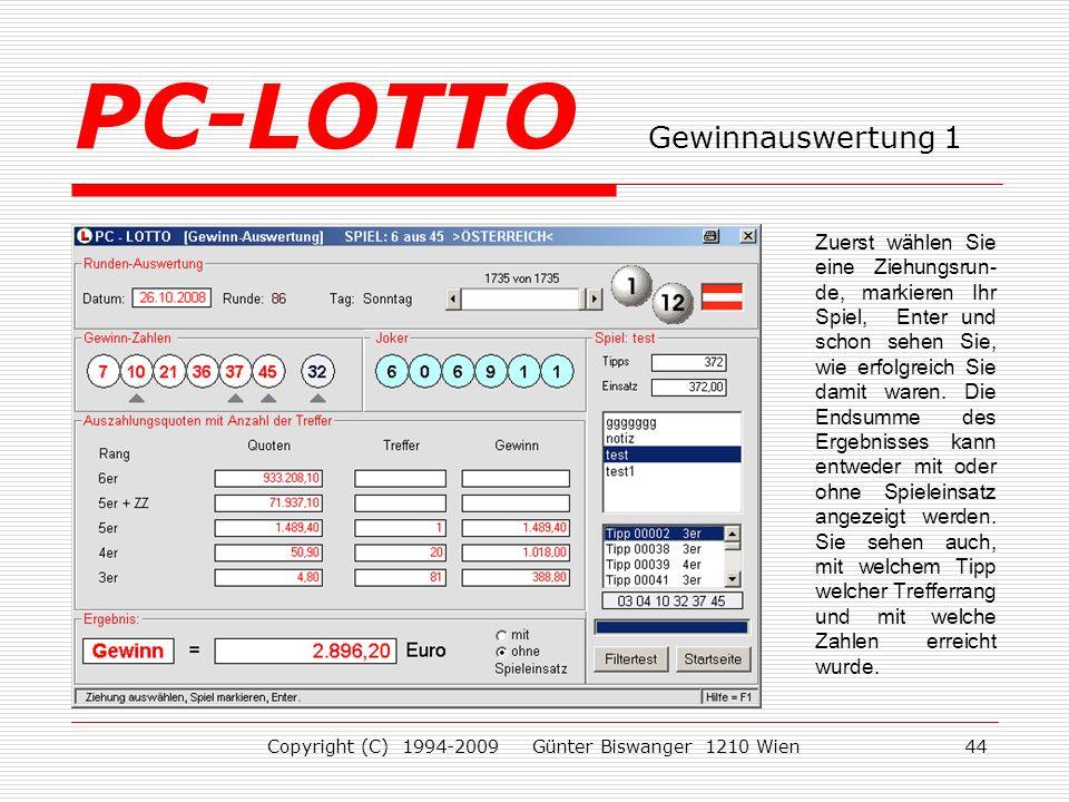 PC-LOTTO Gewinnauswertung 1