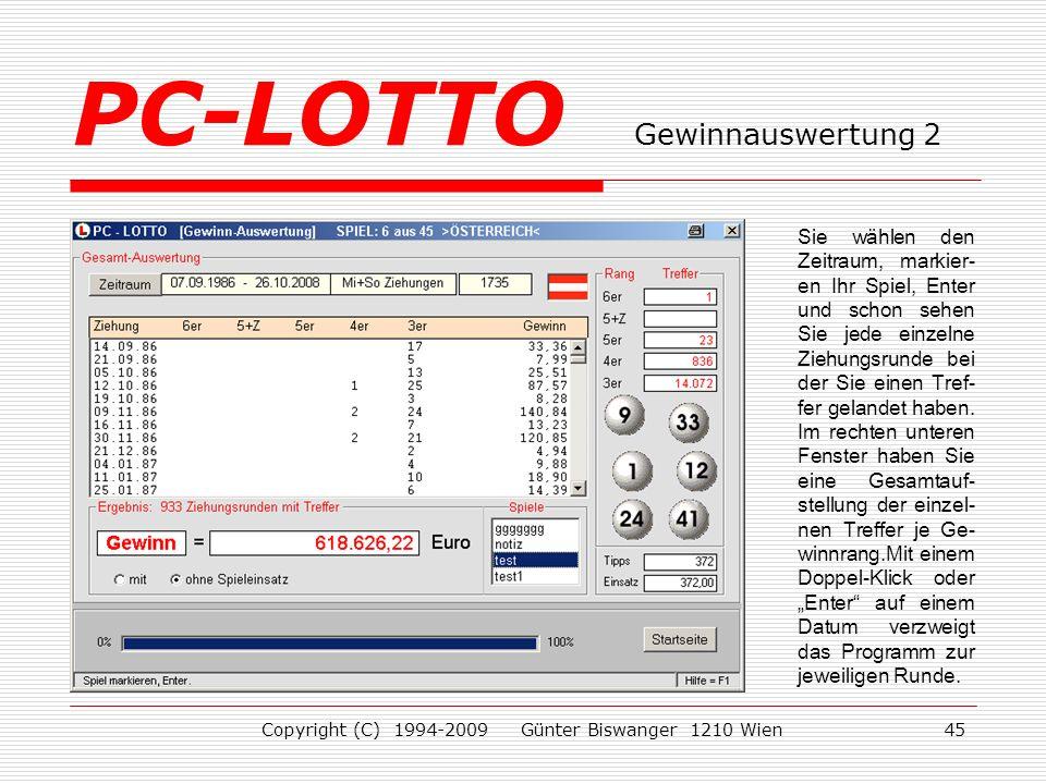 PC-LOTTO Gewinnauswertung 2