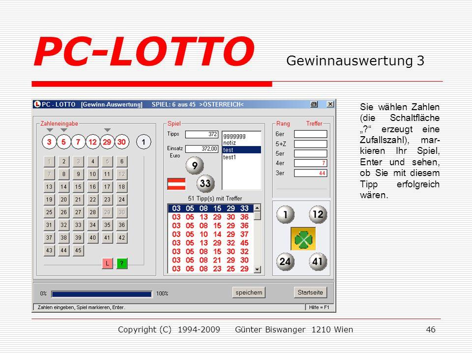PC-LOTTO Gewinnauswertung 3