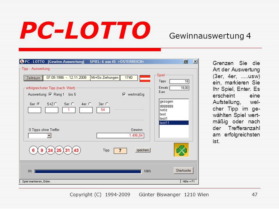 PC-LOTTO Gewinnauswertung 4