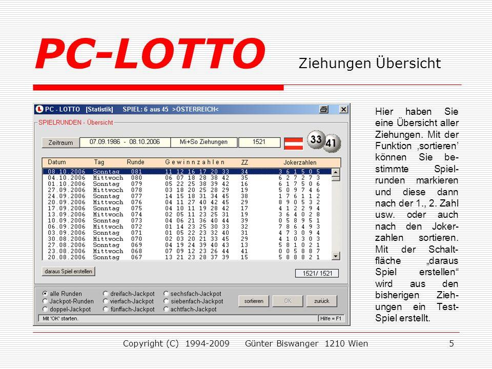 PC-LOTTO Ziehungen Übersicht