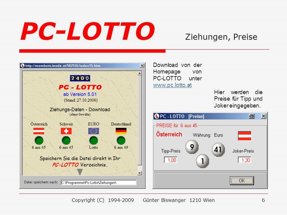 PC-LOTTO Ziehungen, Preise