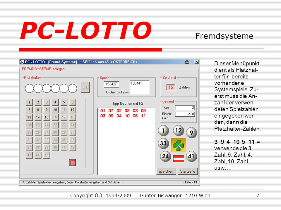 PC-LOTTO Fremdsysteme