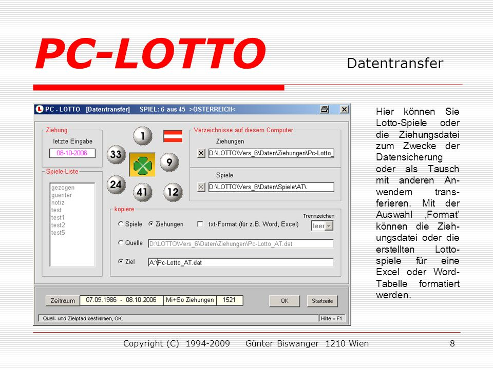 PC-LOTTO Datentransfer