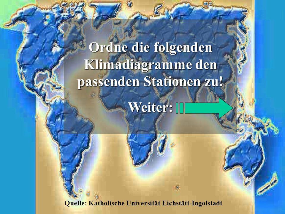 Ordne die folgenden Klimadiagramme den passenden Stationen zu!