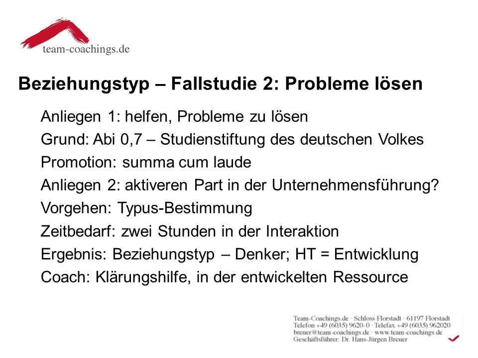 Beziehungstyp – Fallstudie 2: Probleme lösen