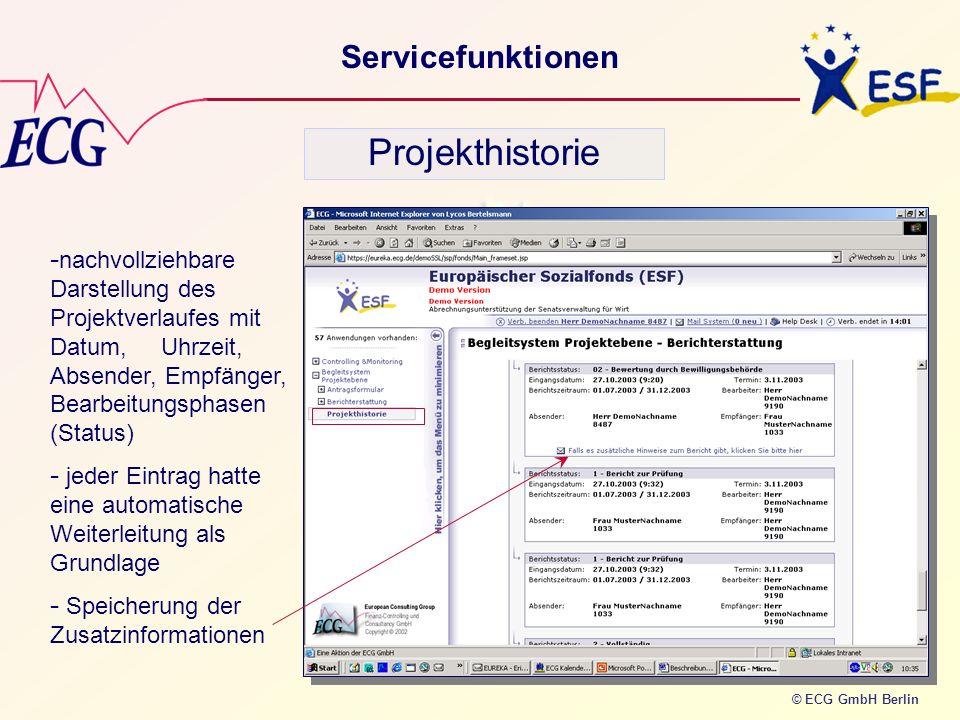 Projekthistorie Servicefunktionen