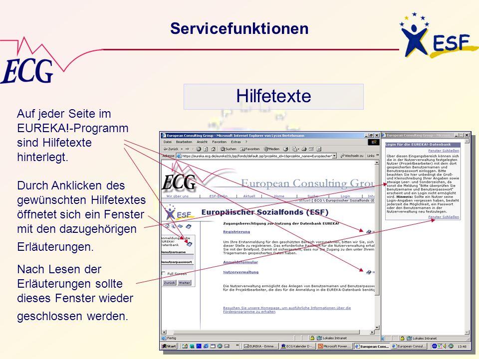 Hilfetexte Servicefunktionen