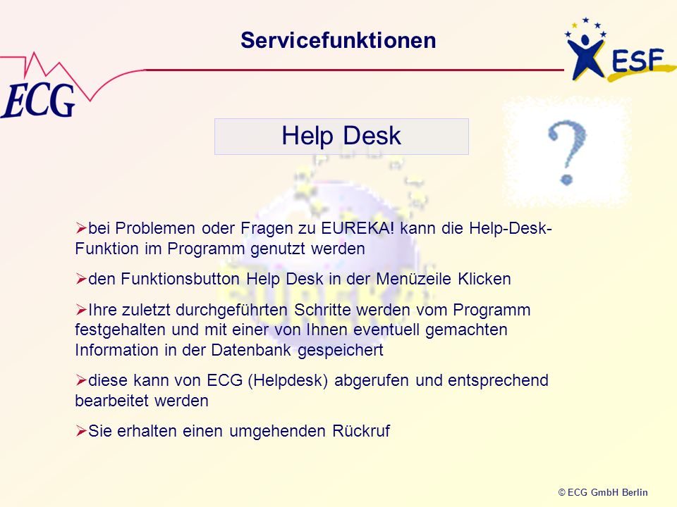 Help Desk Servicefunktionen