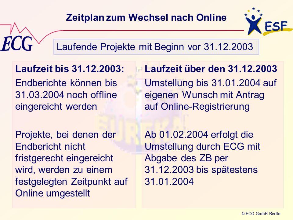 Zeitplan zum Wechsel nach Online