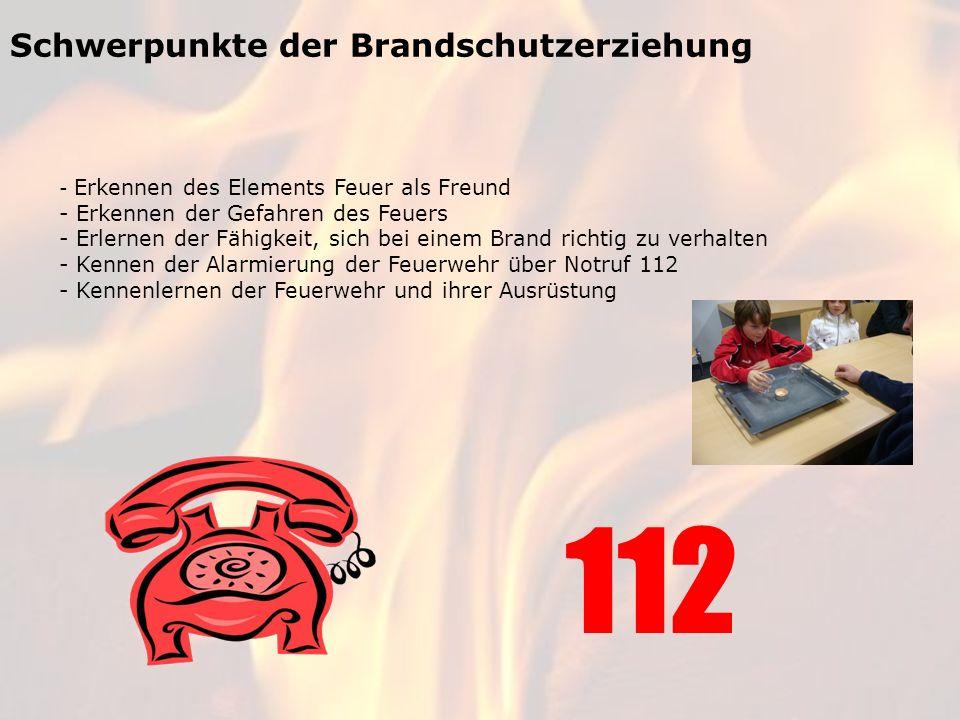 112 Schwerpunkte der Brandschutzerziehung