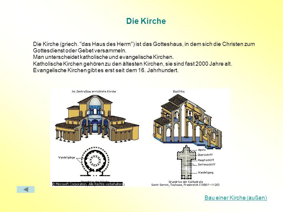 Die Kirche Die Kirche (griech. das Haus des Herrn ) ist das Gotteshaus, in dem sich die Christen zum Gottesdienst oder Gebet versammeln.