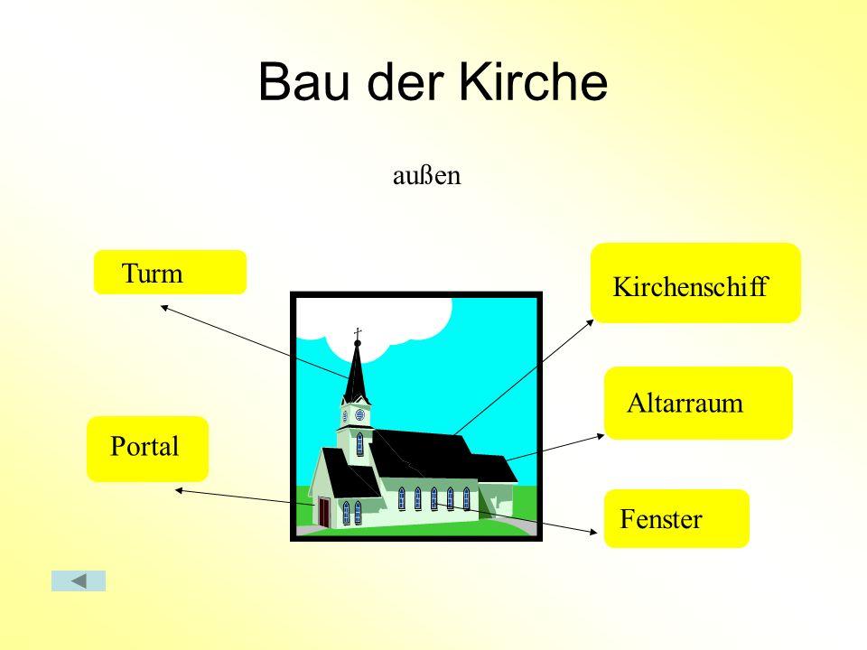 Bau der Kirche außen Turm Kirchenschiff Altarraum Portal Fenster
