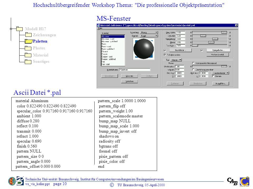 MS-Fenster Ascii Datei *.pal Modell H17 Zeichnungen Paletten Photos