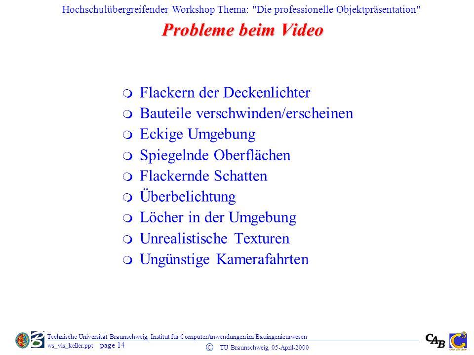 Probleme beim Video Flackern der Deckenlichter