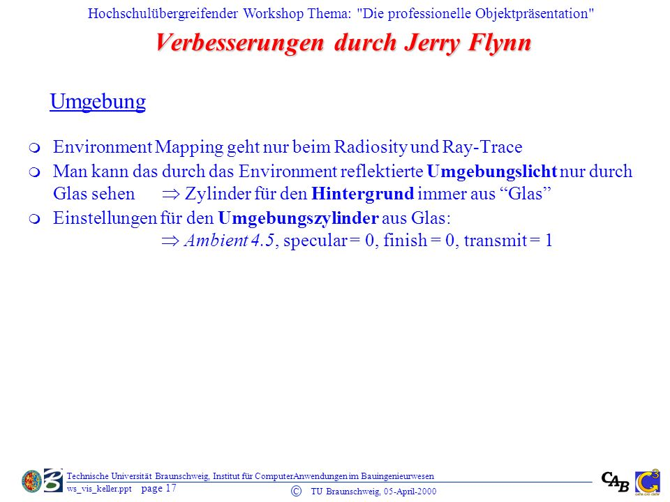 Verbesserungen durch Jerry Flynn
