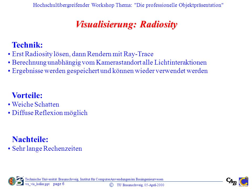 Visualisierung: Radiosity