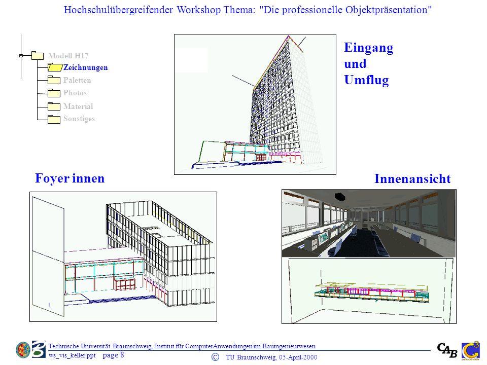 Eingang und Umflug Foyer innen Innenansicht Modell H17 Zeichnungen