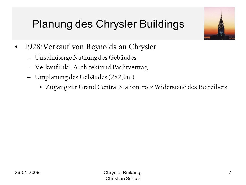 Planung des Chrysler Buildings