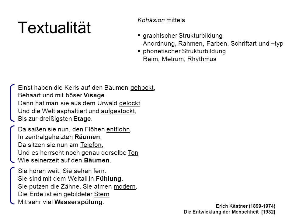 Textualität Kohäsion mittels graphischer Strukturbildung
