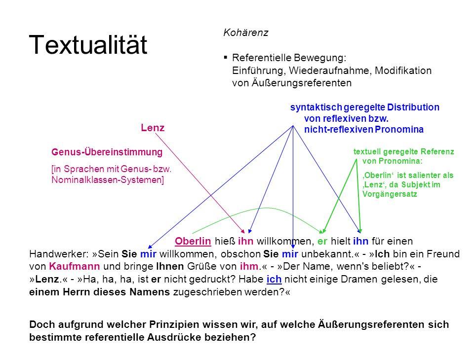 Textualität Kohärenz Referentielle Bewegung:
