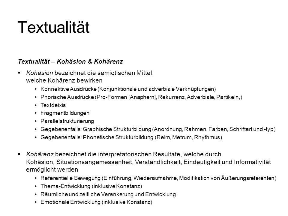 Textualität Textualität – Kohäsion & Kohärenz