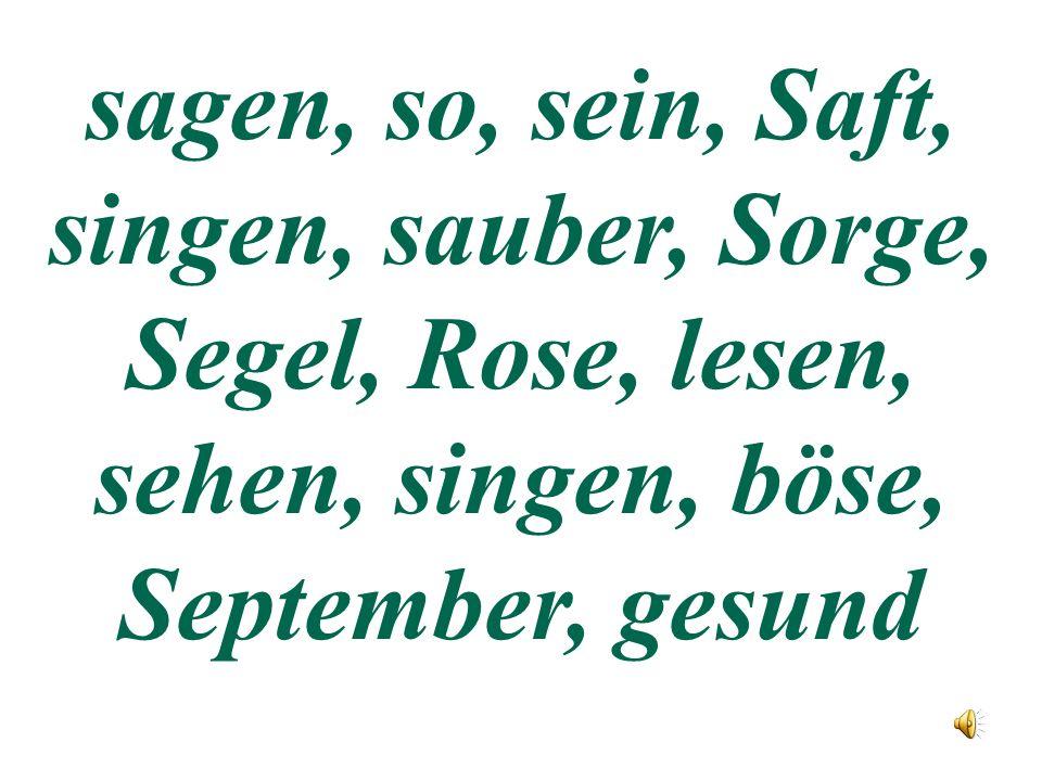 sagen, so, sein, Saft, singen, sauber, Sorge, Segel, Rose, lesen, sehen, singen, böse, September, gesund