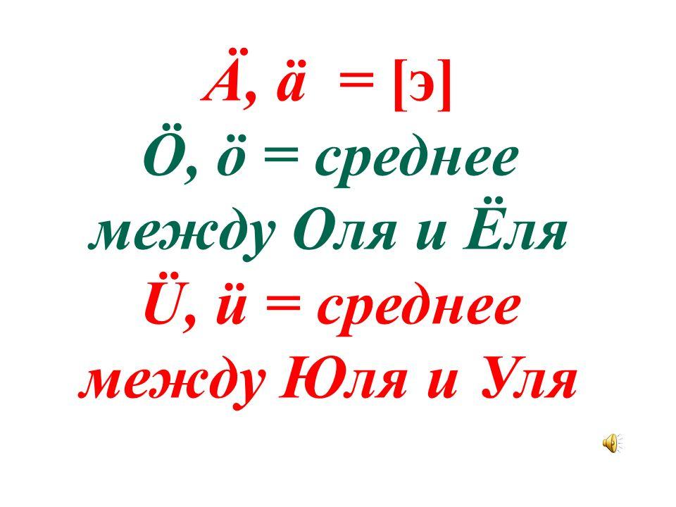 Ö, ö = среднее между Оля и Ёля Ü, ü = среднее между Юля и Уля