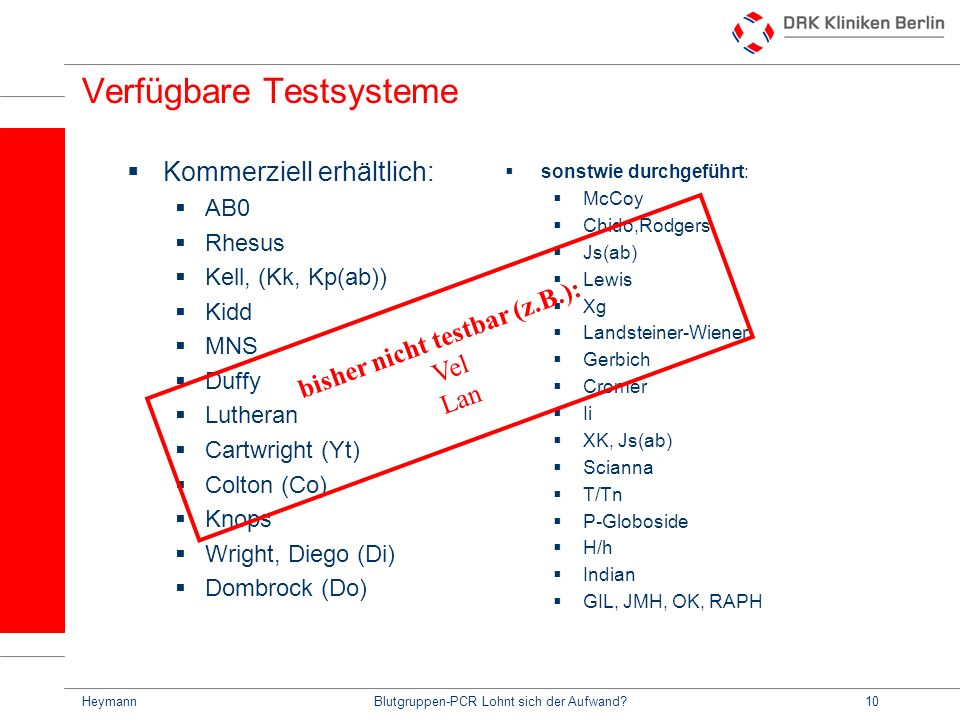 Verfügbare Testsysteme