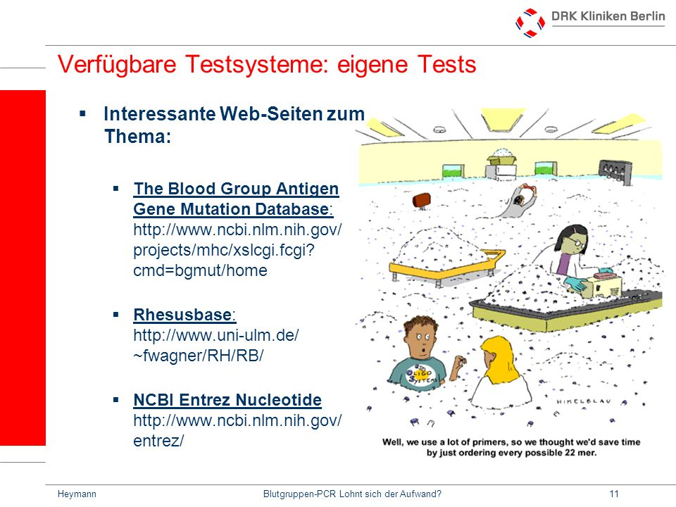 Verfügbare Testsysteme: eigene Tests