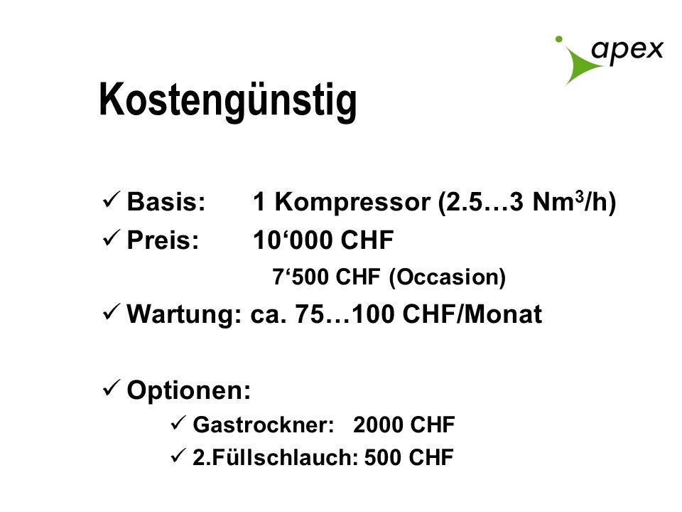 Kostengünstig Basis: 1 Kompressor (2.5…3 Nm3/h) Preis: 10'000 CHF