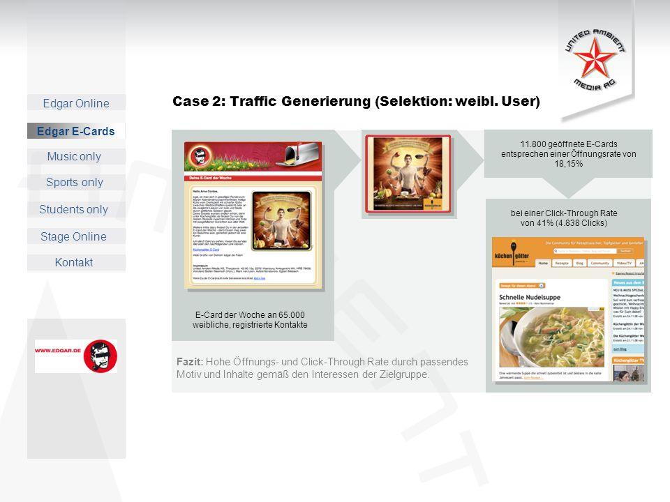 Case 2: Traffic Generierung (Selektion: weibl. User)