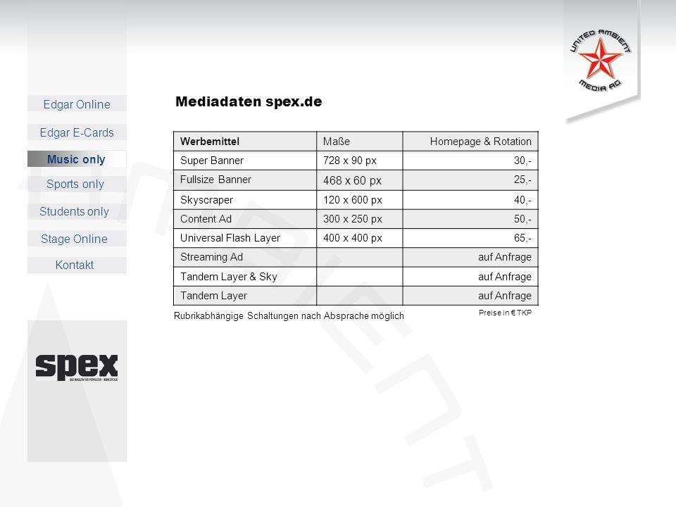 Mediadaten spex.de 468 x 60 px Music only Werbemittel Maße
