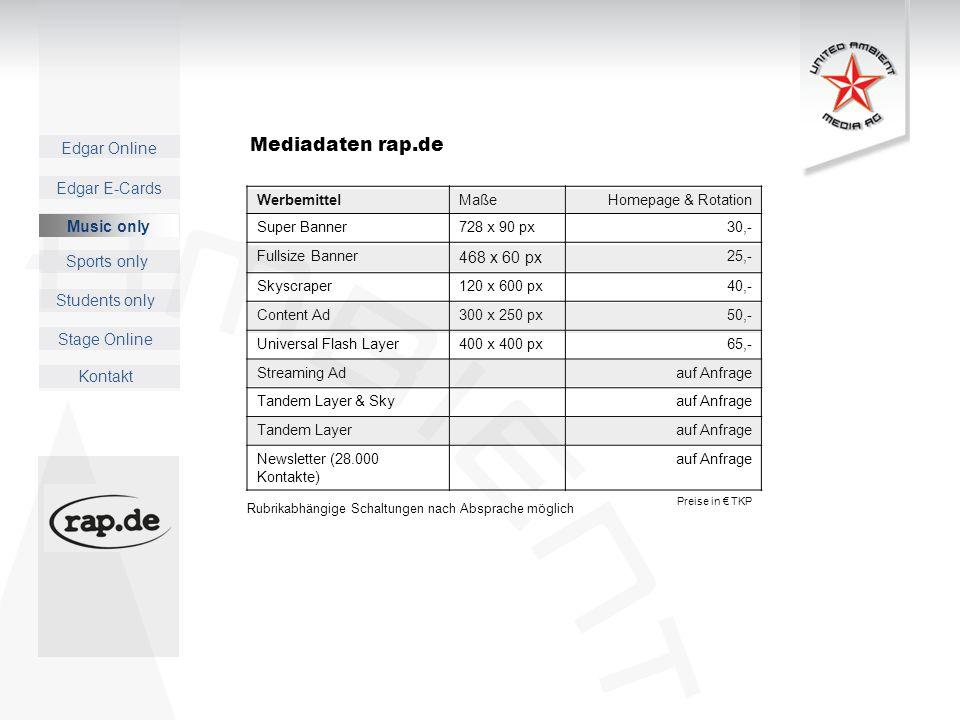 Mediadaten rap.de 468 x 60 px Music only Werbemittel Maße
